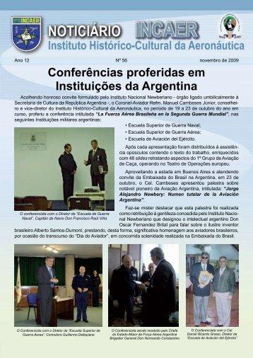 Conferências proferidas em Instituições da Argentina - incaer
