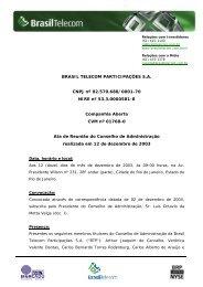 BRASIL TELECOM PARTICIPAÇÕES S.A. CNPJ nº 02.570.688 ...