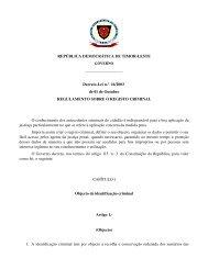 REPÚBLICA DEMOCRÁTICA DE TIMORLESTE DecretoLei n.º 16 ...