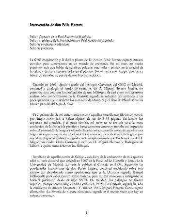 Discurso de don Félix Herrero Salgado - Real Academia Española