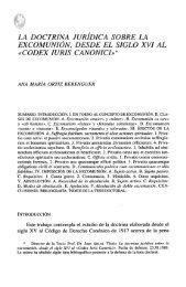 la doctrina jurídica sobre la excomunión, desde el siglo xvi al