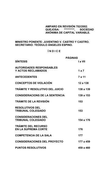 AMPARO EN REVISIÓN 702/2002. por