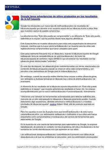 Google lanza advertencias de sitios pirateados en los ... - Softpedia