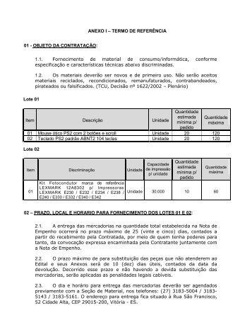 ANEXO I – TERMO DE REFERÊNCIA 01 - OBJETO DA ...