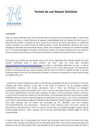 Termos de uso Heaven Solutions