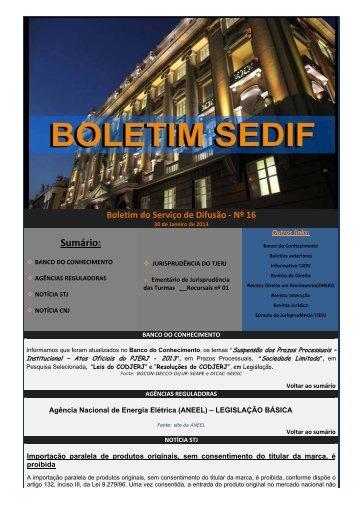 Boletim do Serviço de Difusão nº 16 - Tribunal de Justiça do Estado ...