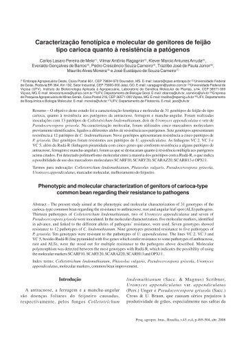 Caracterização fenotípica e molecular de ... - Ainfo - Embrapa