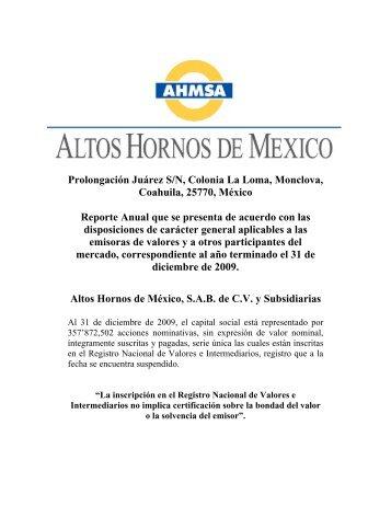 Reporte Anual 2009 - Altos Hornos de México