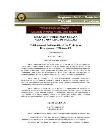 Reglamento de Imagen Urbana para el Municipio de Mexicali