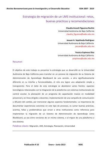 Estrategia de migración de un LMS institucional: retos ... - RIDE