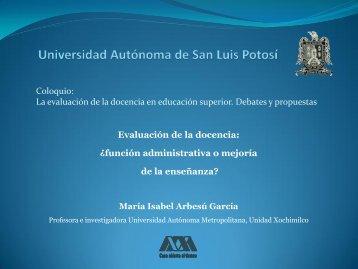 Evaluación de la docencia - eVirtual UASLP - Universidad ...