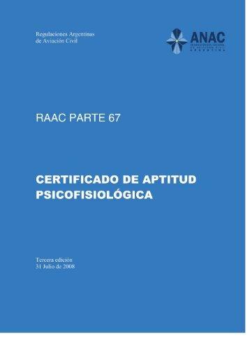 Certificado de aptitud psicofisiológica - ANAC