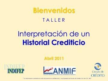 Interpretación de un Historial Crediticio Bienvenidos - indifep
