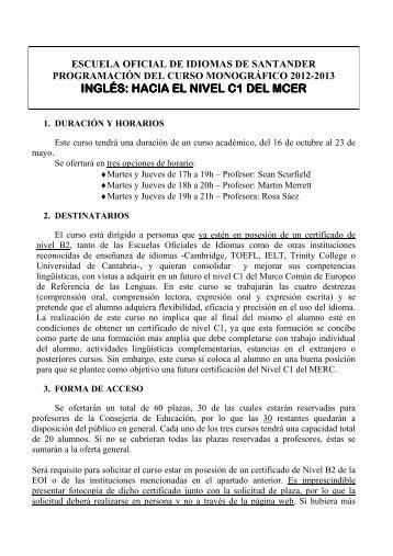 ingles hacia c1 del mecr - Escuela Oficial de Idiomas de Santander