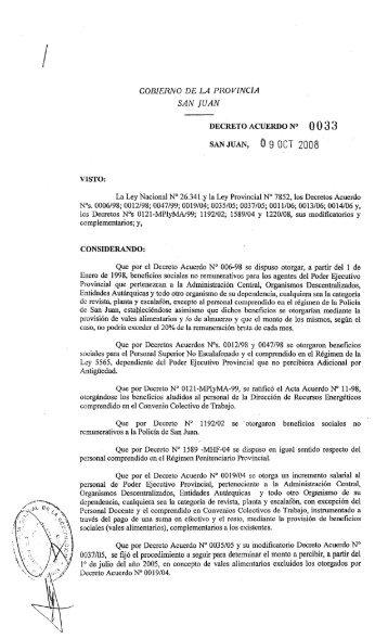 Decreto acuerdo 33-09 Tiket - Gobierno de la Provincia de San Juan