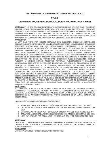 ESTATUTO DE LA UNIVERSIDAD CÉSAR VALLEJO S