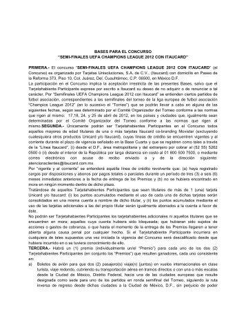 """BASES PARA EL CONCURSO """"SEMI-FINALES UEFA ... - Itaucard"""