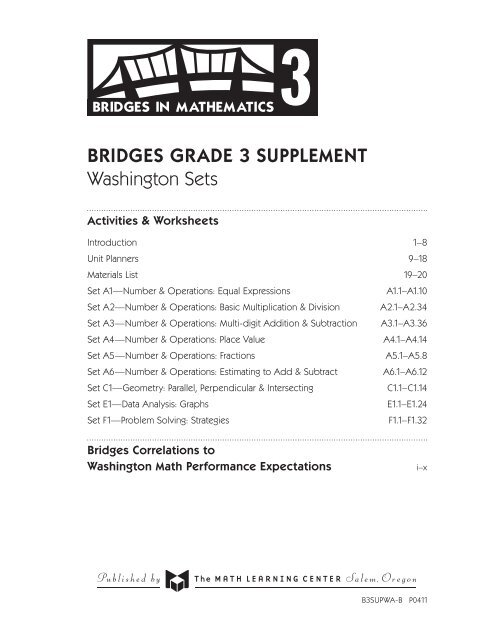 BRIDGES GRADE 3 SUPPLEMENT Washington Sets - The Math ...