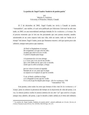 La poética de Ángel Cuadra: Senderos de pasión patria - NACAE