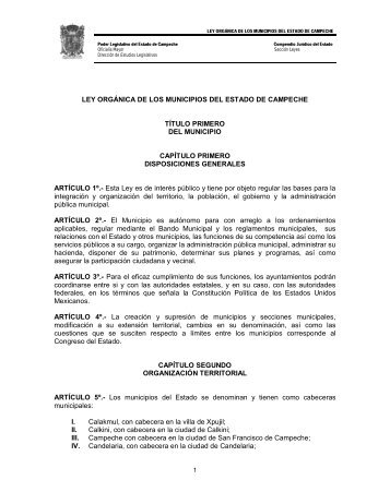 Ley Orgánica de los Municipios del Estado de Campeche