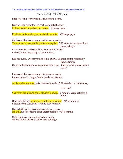 Poema 20 De Pablo Neruda Puedo Escribir Los Csoteloorg