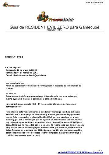 Guia de RESIDENT EVIL ZERO para Gamecube - Trucoteca.com