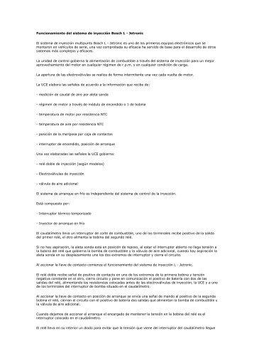 Funcionamiento del sistema de inyección Bosch L - Jetronic El ...