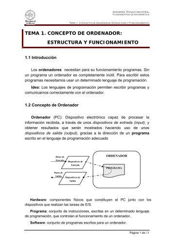 tema 1. concepto de ordenador: estructura y funcionamiento