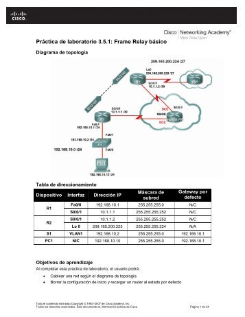 Práctica de laboratorio 3.5.1: Frame Relay básico