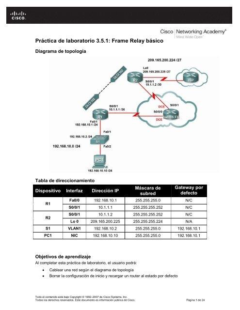 pr u00e1ctica de laboratorio 3 5 1  frame relay b u00e1sico