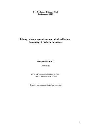L'intégration perçue des canaux de distribution - Mémoire vivante du ...