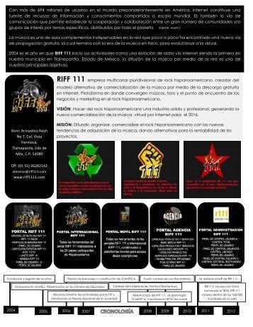 RIFF 111 empresa multicanal pluridivisional de rock ...