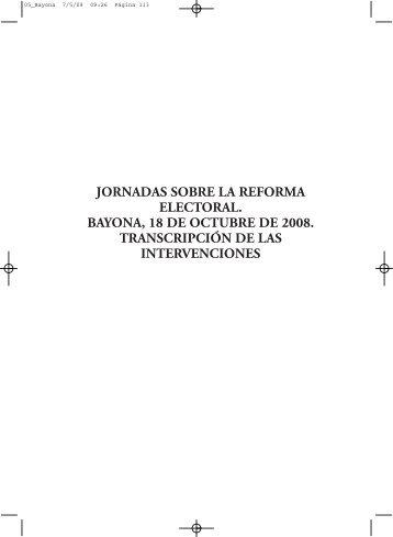 jornadas sobre la reforma electoral. bayona, 18 ... - e-Spacio - Uned