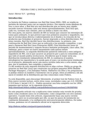 FEDORA CORE 4, INSTALACIÓN Y PRIMEROS PASOS ... - Biblioteca