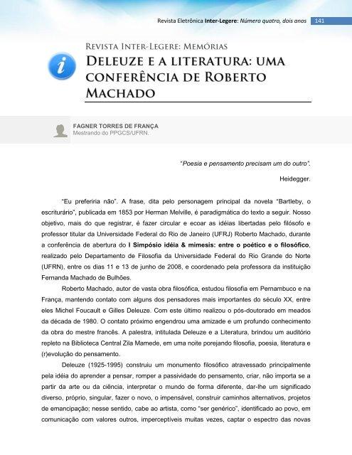 Deleuze e a literatura - cchla - Universidade Federal do Rio Grande ...