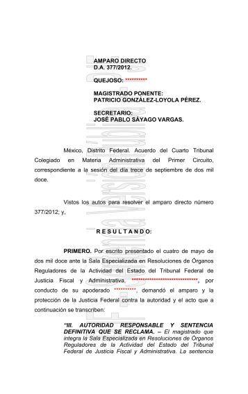 1. Juicio de amparo directo 377/2012, del índice del Cuarto Tribunal ...