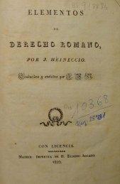 Elementos de Derecho Romano / por J. Heineccio