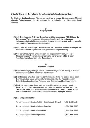 Entgeltordnung für die Nutzung der ... - Altenburger Land