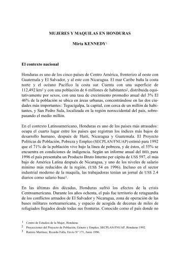 MUJERES Y MAQUILAS EN HONDURAS Mirta KENNEDY1 El ...
