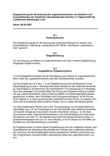 Entgeltordnung Jugendwohnheim - Altenburger Land