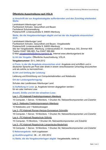 Öffentliche Ausschreibung nach VOL/A a ... - Altenburger Land