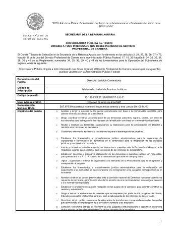 SECRETARÍA DE LA REFORMA AGRARIA CONVOCATORIA ...