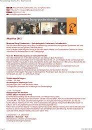 Veranstaltungen auf Burg Posterstein 2012 - Altenburg Tourismus