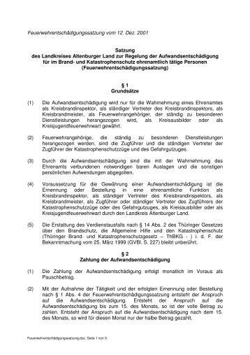 Feuerwehrentschädigungssatzung - Altenburger Land
