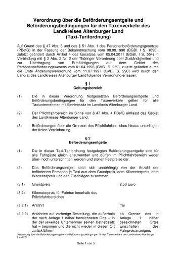 Verordnung über die Beförderungsentgelte und - Altenburger Land