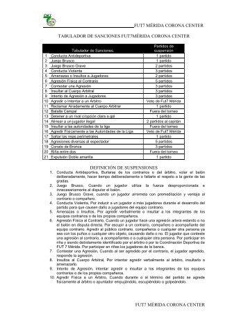 Tabulador de Sanciones 2012 - Fut 7