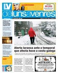 Alerta laranxa ante o temporal que afecta hoxe a costa galega