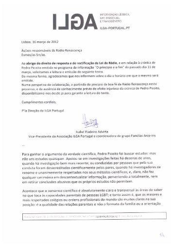 iNTERvENÇÃo LÉSBICA, GAY, BISSEXUAL ... - ILGA Portugal