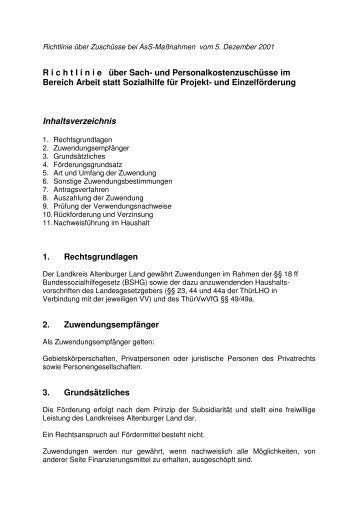 Richtlinie über Zuschüsse bei Ass-Maßnahmen - Altenburger Land