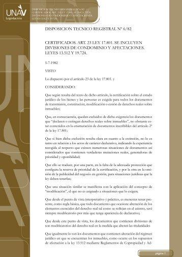 disposicion tecnico registral nº 6/82 certificados. art. 23 ley ... - UNAV